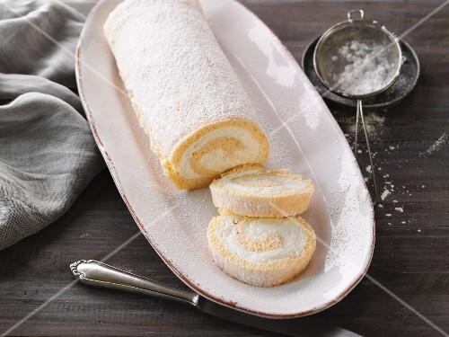 Swiss roll with a lemon quark filling