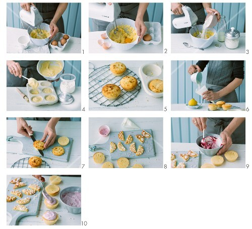 Butterfly cupcakes being made