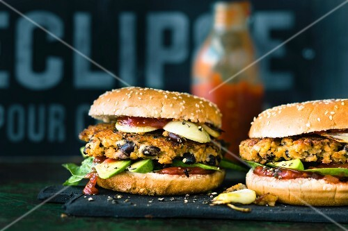 Vegan Mexican burgers with soya patties