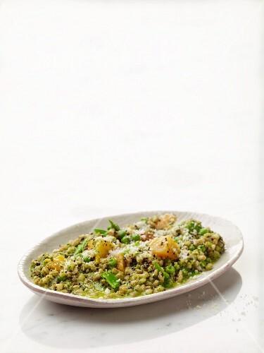 Farro quinoa risotto with sweet potatoes