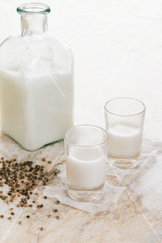 Hemp milk and scattered hemp seeds