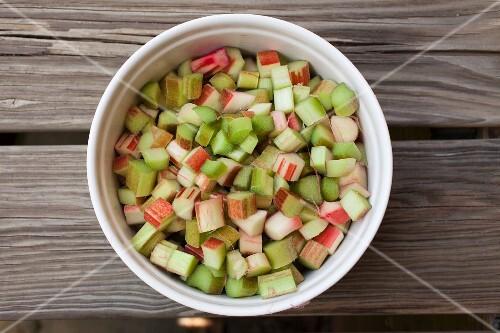 Washed and prepared rhubarb