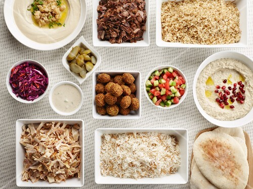 Pita pouches: a selection of various oriental ingredients