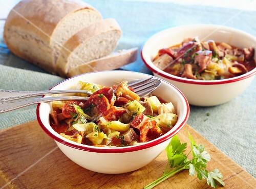 Bigos Polski (sauerkraut stew with meat and sausage, Poland)