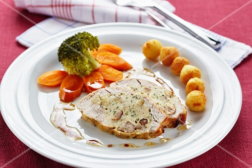 Turkey breast with a chestnut filling and potato croquettes