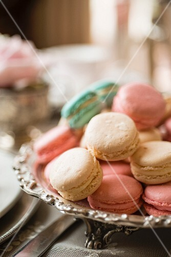 Macarons in a silver bowl for afternoon tea