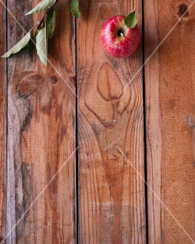 A red apple with a twig on a wooden surface