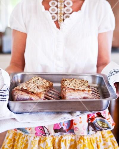 Lamb chops with a breadcrumb crust
