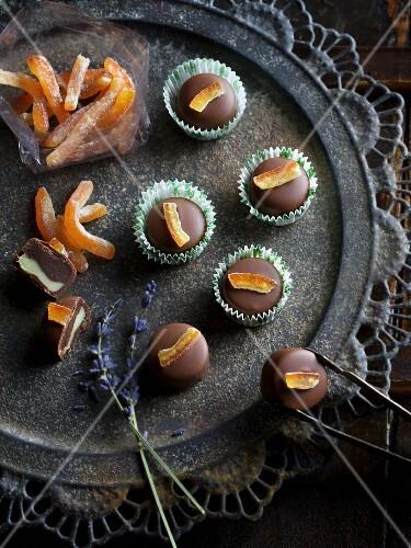 Lavender pralines with orange ganache