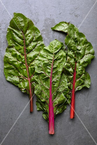 Three leaves of fresh red-stemmed chard on a grey stone surface