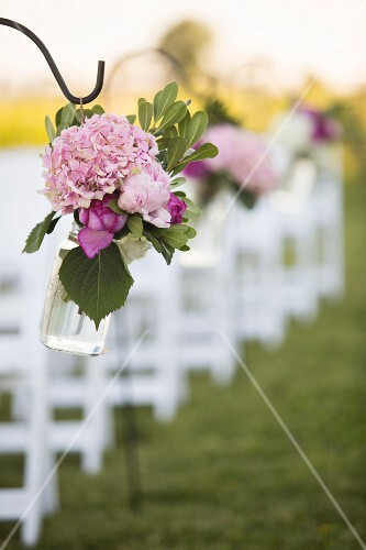 Flower arrangements at a wedding ceremony