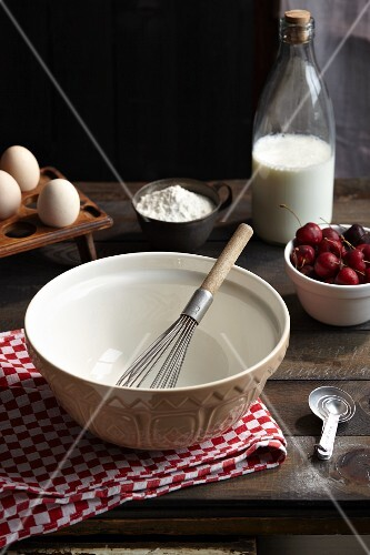 Baking ingredients for cherry clafoutis