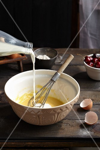 Batter for cherry clafoutis being made