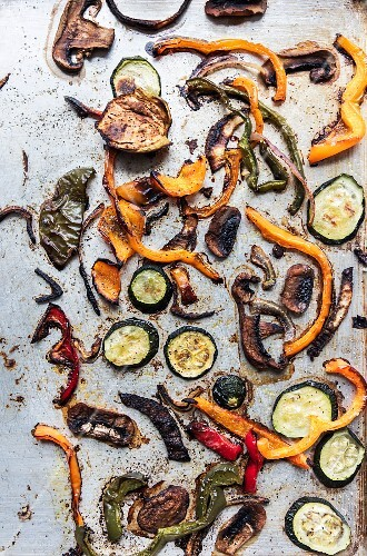 Baked vegetables on a baking tray