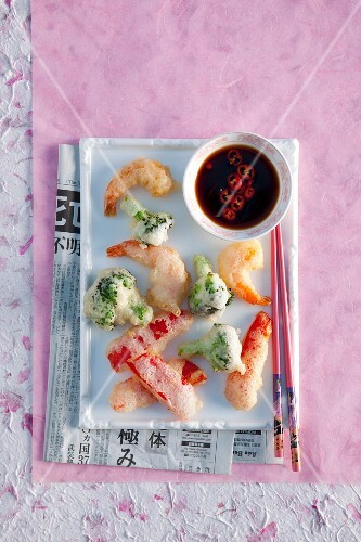 Shrimp and Vegetable Tempura with Soy Dipping Sauce