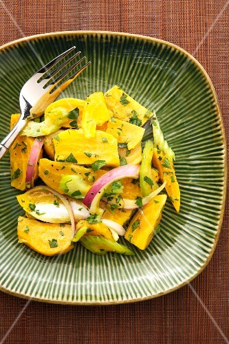Golden beet salad with onions and celery