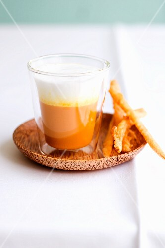 Carrot and coconut macchiato with carrot pakoras