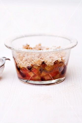 Rhubarb and cranberry pie in a glass