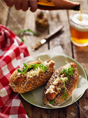 Hot Dog with Sauerkraut on a Bun