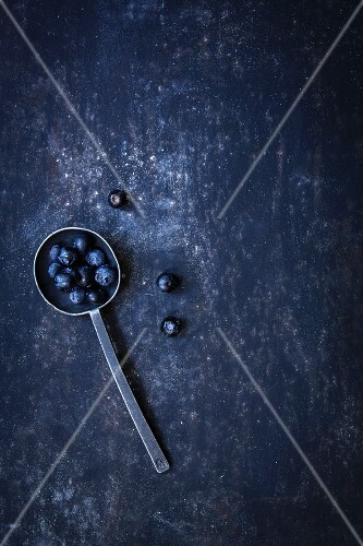 Blueberries on a spoon