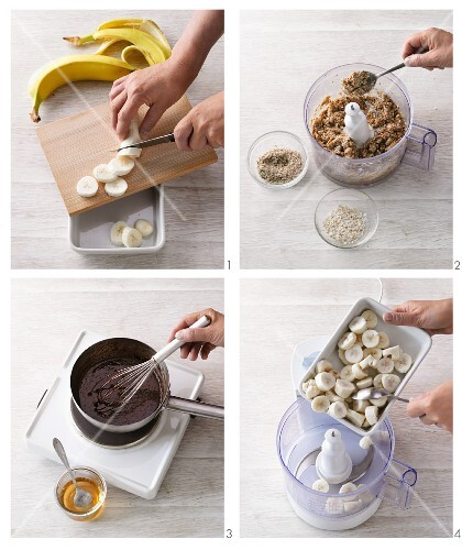 Banana ice cream with cookie dough crumbles and chocolate sauce being made