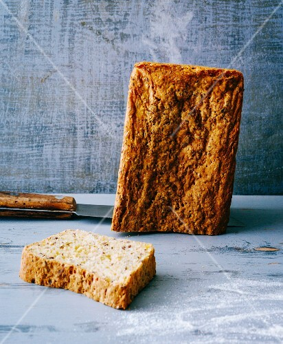 Gluten-free potato bread with flax seed and sunflower seeds