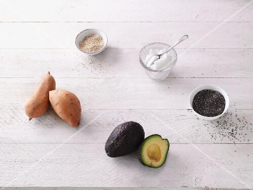 Clean super foods – avocado, chia seedss, coconut oil, quinoa and sweet potatoes