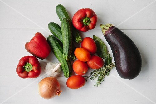 Vegetables and herbs for ratatouille