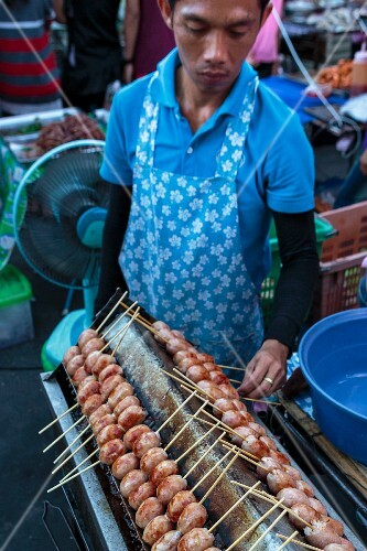 Sour sausages at a market in Bangkok, Thailand