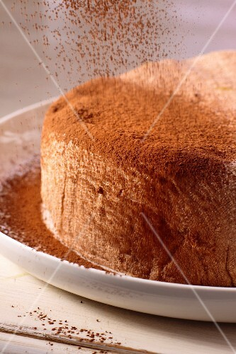 A cake being dusted with cocoa powder