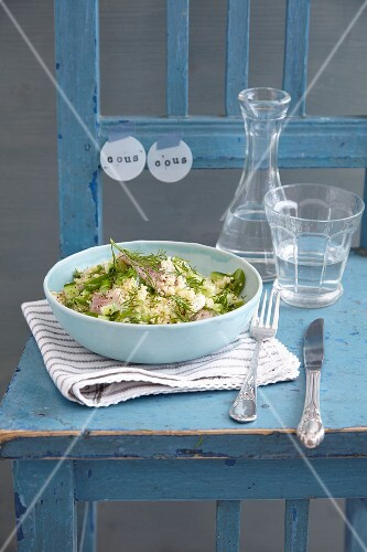 Quick couscous salad with smoked trout and cucumber