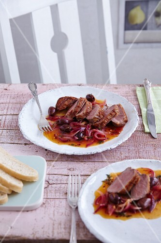 Roasted duck breast with orange and onion sauce