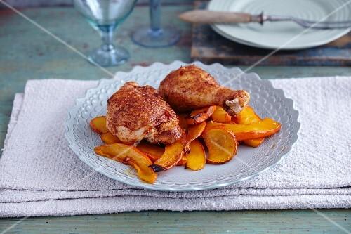 Oven-baked chicken legs with Hokkaido pumpkin