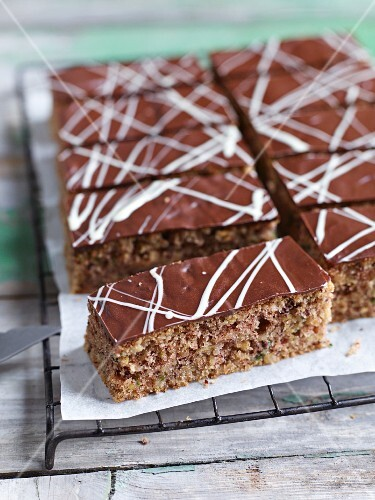 Sliced chocolate and courgette tray bake cake