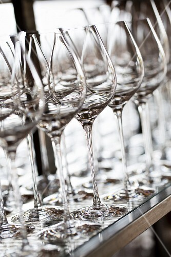 Rinsed wine glasses at the restaurant Oaxen Krog run by chef Magnus Ek, Stockholm