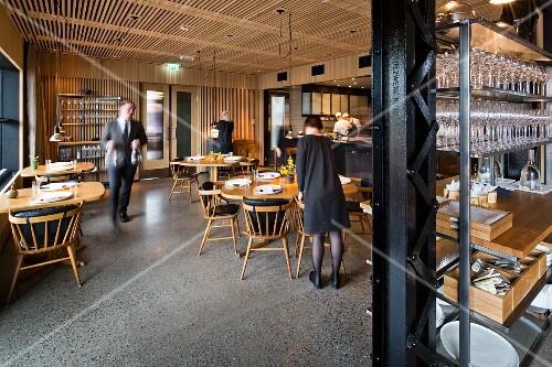 The dining room at the restaurant Oaxen Krog run by chef Magnus Ek, Stockholm
