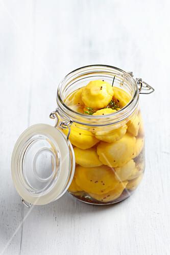 Pickled patty pan squash