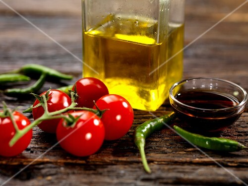 Tomatoes, chilli peppers, balsamic vinegar and olive oil