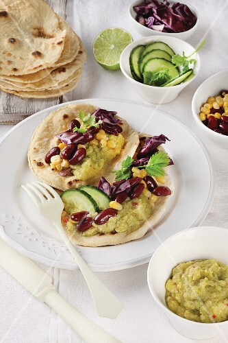 Tortilla and wraps with vegetables and courgette cream