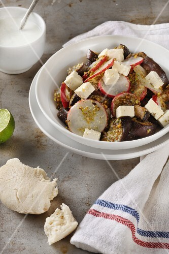 Vegetable salad with pesto and feta cheese