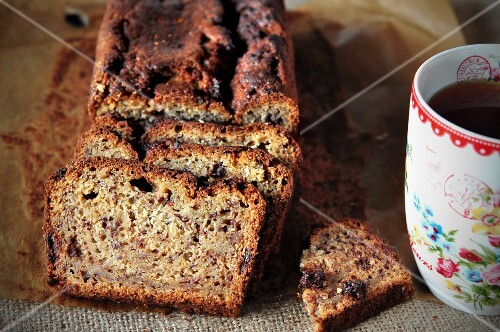 Banana bread and a mug of tea