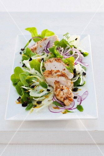 Fennel salad with crispy chicken breast and red onions