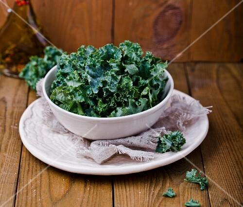 A bowl of chopped kale