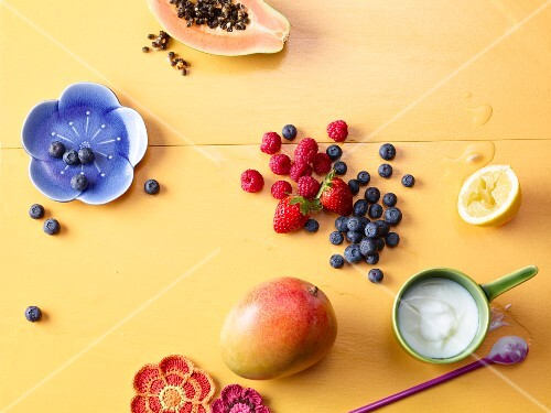 Ingredients for healthy shakes with fresh fruit