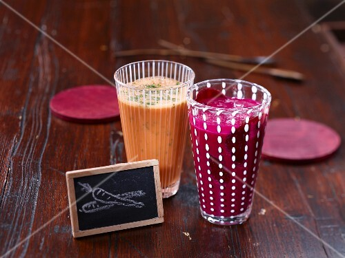 A beetroot shake, and a carrot and ginger shake