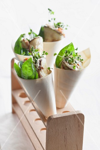 Courgette roles with ricotta and herbs in paper cones