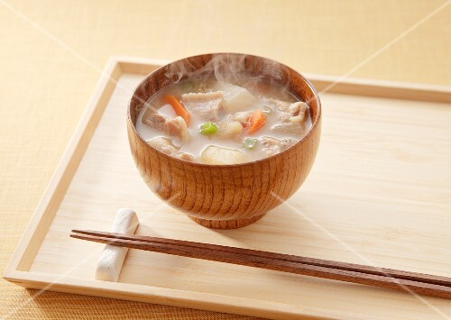 Miso soup with pork and vegetables