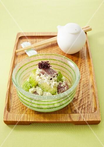 Avocado and tuna with with mashed tofu (Japan)