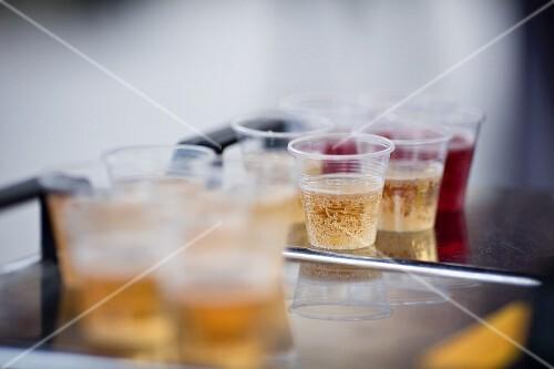 Juice in plastic cups