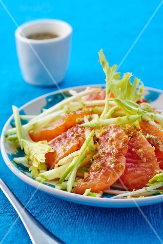 Celery salad with salmon